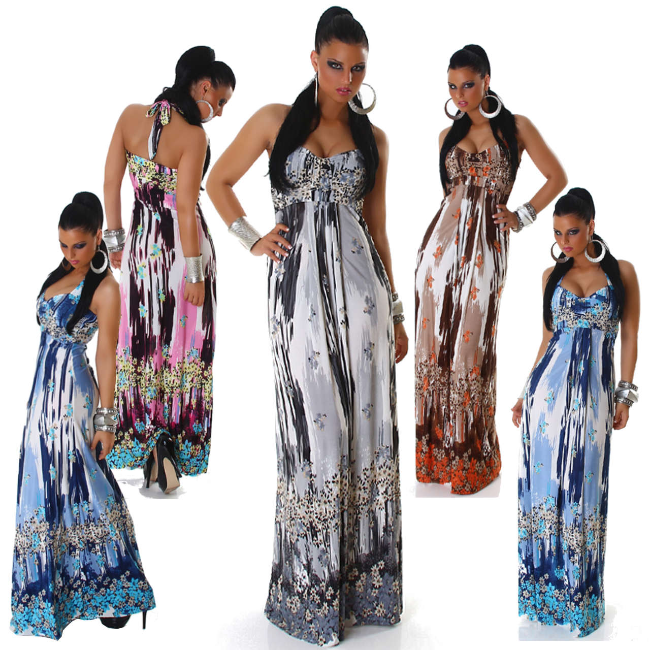 g657 sexy pop art 60er 70er jahre boho hippie maxi kleid dress gr 40 ebay. Black Bedroom Furniture Sets. Home Design Ideas